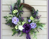 Extra Large English Garden Wreath, Victorian Spring Wreath, Shabby Chic Wreath,  Designer Wreath, Purple Summer Wreath, Elegant Wreath
