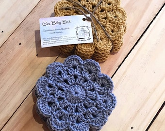 Crochet Scallop Edge Coasters - Set of 6