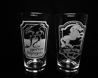 Lord of the Rings Inspired Pint Glass Set -The Green Dragon Inn -The Prancing Pony