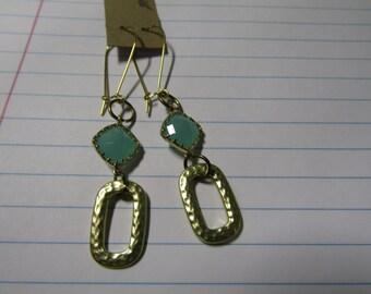 Mint green glass earrings dangles