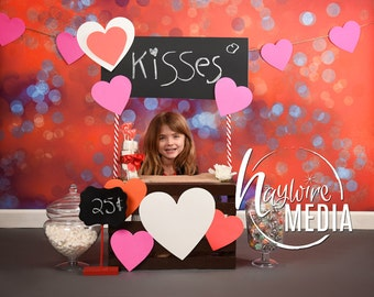 Baby Toddler Child Kissing Booth Love Stand for Valentine's Day - Digital Photography Backdrop