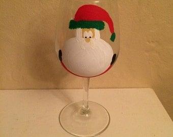 Santa hand-painted wine glass