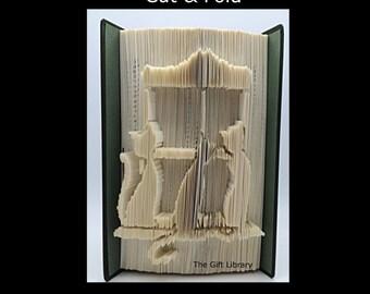 Cut & Fold Book Folding PATTERN~  Cats on Window Sill, Shabby Chic, Mothers day, Animals, Feline, Pets, Cats