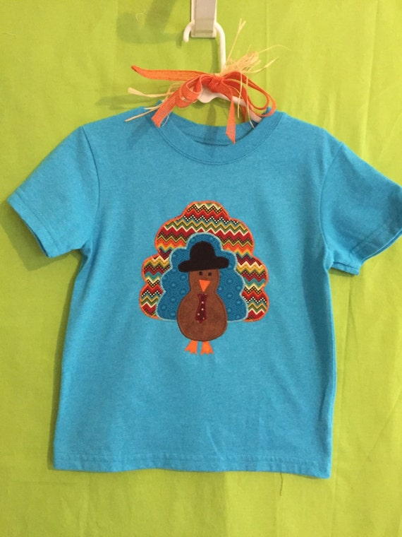 Thanksgiving turkey appliqué t-shirt for infants & toddlers