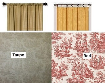 Two Curtain Panels Country Life Taupe, Red Fabric CHOOSE