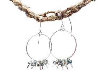 Handmade Crystal and Silver Hoop Dangle earrings