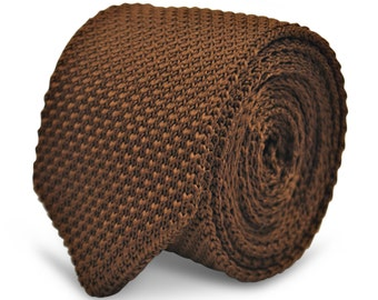 chocolate brown skinny knitted wool tie with pointed end by Frederick Thomas FT2221