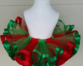 Red and green Christmas tutu