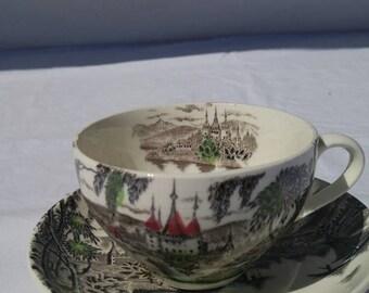 "Cup and saucer set, ""La Ville"" vintage transferware, Japan"