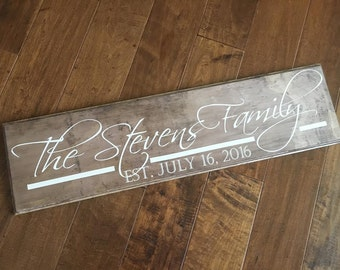 Family Sign, Family established Wood Sign -Personalized family Wood Sign -  Personalized Sign - Wedding gift - Anniversary gift