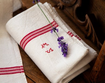 2 Vintage French XL Tea Towels – Pure Linen – Red Stripes - Unused - Monogrammed E S - Free Shipping within the USA