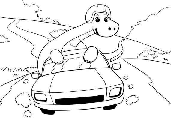 Coloring Books For Adults Dinosaurs : Dinosaurs race car driving coloring page colouring adult