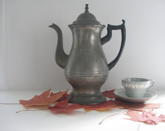 Antique Pewter Coffee pot Roswell Gleason c.1850 Vintage Pewter Teapot Colonial Pewter Old Pewter  Dorchester MA pewter Early Pewter