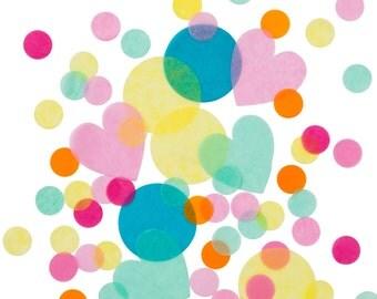 Multicoloured Confetti - Party Confetti, Wedding Decor, Table Decor, Party Decor, Paper Circles, Heart Confetti