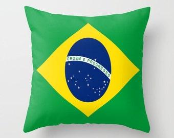 Brazil Flag Pillow Cover Brazil Pillow Cover Brazil Decorative Pillow Brazil Indoor Pillow Cover Brazil Outdoor Pillow Cover Rio Olympics