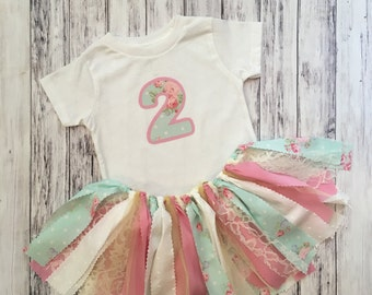 Pink and Blue Birthday Outfit // Baby Girl Birthday Outfit //  Vintage Baby Girl Birthday Outfit // Garden Birthday Outfit
