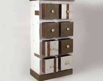 Reclaimed Wood Rustic Style Tallboy/ Storage Unit/ Drawer Chest/