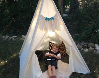 Kids teepees come in 3, 4, 5 poles, sold with or without poles, order wood poles, wood name, fringe & shade in seperate listing, thank you