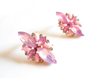Pink cluster stud earrings, pink earrings, pink stud earrings,pink stone earrings,pink earrings studs,light pink earrings,pink opal earrings