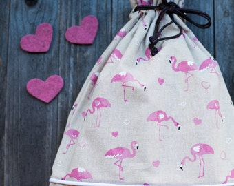 Bag-BACKPACK in cotton with PINK FLAMINGOS. Perfect for the nursery