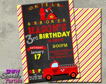 "FIRETRUCK INVITATION - ""Firetruck birthday invitation"" - Vintage Firetruck Invitation - DIY printable fire engine invitation on chalkboard"