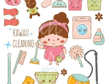 Kawaii Cleaning Clipart - Kawaii Planner Clipart - Laundry Clipart - Instant Download - High Quality