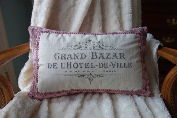 Handmade Pink And Brown French Toile Toss Pillow Grand Bazar