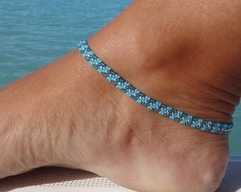 Turquoise Blue anklet, Wave Daisy Chain Ankle Bracelet, Seed Bead Anklet, Summer Fashion UK, Beach Anklet, B