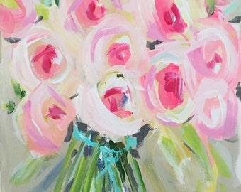 Modern Art Print , Abstract Print, SQUARE, pink, raspberry, lime, aqua, marendevineart