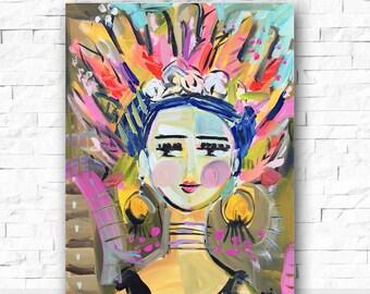 Warrior Girl Print portrait impressionist modern abstract girl 8x10 16x20