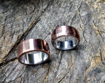 Brushed Copper Aluminum, Sterling Ring Band.  6mm - 14 mm Wide.