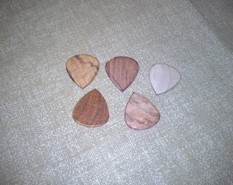 5 Pack Exotic Wood Bass Guitar Picks