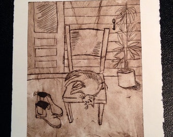 Perspex etching. 'Puss and boots'. Seiper ink on acid free paper. Original work by Jeht Burgoyne.