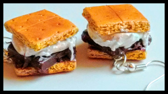 S'mores Earrings - Miniature Food Jewelry - Inedible Jewelry - Smores Jewelry - Gifts for Foodies, Kawaii Jewelry, Marshmallow Earrings