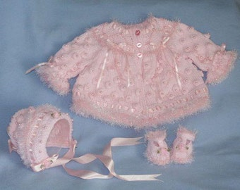 Knitting pattern Ref12 Matinee Coat, Bonnet and T Bar Shoes size 0-3mths