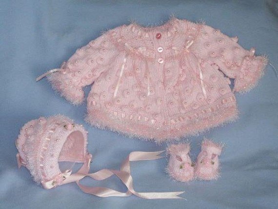 Baby Knitting pattern Ref12 Matinee Coat, Bonnet and T Bar Shoes size 0-3mths