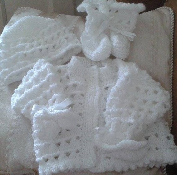Baby Knitting pattern 'Paige' Loopy Cardi, Cap and Booties size newborn/0-3mths