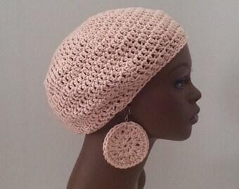 Cotton Crochet Tam and Earrings Set, Antique Cream Crochet Tam Set, 100% Cotton Small/Medium Beret with Matching Earrings