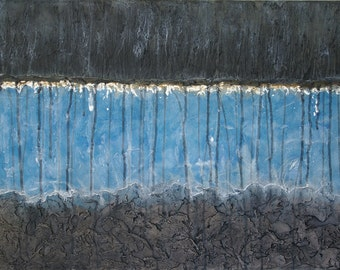 Large Abstract Acrylic Painting Textured Painting Blue Painting Black Painting Modern Art Contemporary Art