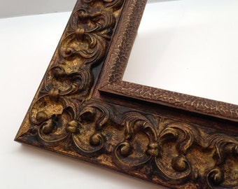Dark Gold Ornate Picture Frame 3x5, 4x6, 5x7, 8x10, 11x14, 16x20 Custom  Sizes Available - Heavy Textured Picture Frame With Glass
