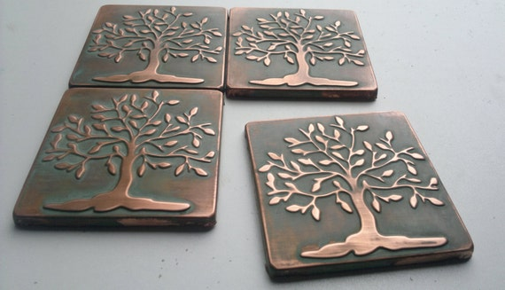 handmade tiles tree of life  copper tiles set of 4 tiles  patina tiles shiny metal tiles kitchen accent accent tiles from mycoppercraft on etsy     handmade tiles tree of life  copper tiles set of 4 tiles      rh   etsystudio com