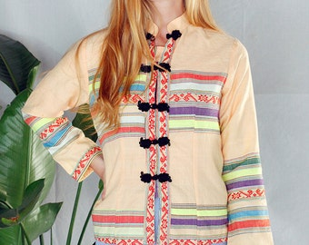 Vintage 70's Embroidered Chinese Ethnic Shirt Jacket Sz Small