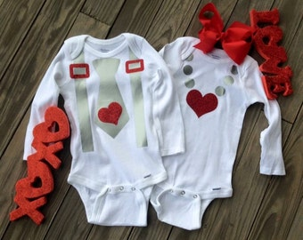 Twin matching Valentine onesies boy girl tie necklace set hair bow