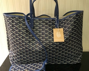 Dark blue large tote bag