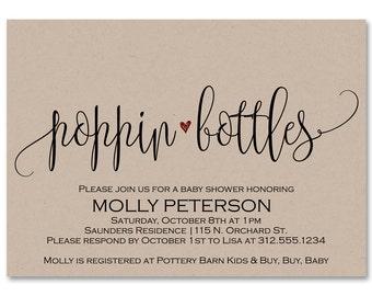 Poppin Bottles, Baby Shower Invitation, Poppin' Bottles, Printable Baby Shower Invitation, Popping Bottles, Editable Baby Shower Invitation