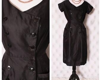 Vintage Black Button Up Wiggle Dress M