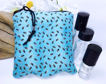 Teal Floral 2-3 Bottle Essential Oil Case, Carry in Purse Essential Oil Travel Case, Young Living Oil Bag, All in One Design