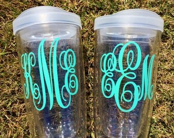 Personalized Tumbler 16 oz Monogrammed Custom Gift, Pacific Acrylic Double Walled with Lid