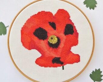 Cross stitch flower. Ladybird Poppy cross stitch pattern. Modern cross stitch. Cross stitch poppy. cross stitch chart. PDF insant download