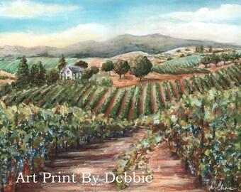 Wine Cellar Painting, Napa Valley Fine Art Print, Wine Wall Art, Wine Art Decor, Reproduction Of Original Painting, Tuscan Vinyard Painting